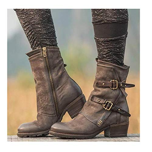 GJHYJK Women Short Boots Western Cowboy Distressed Boot Belt Buckle Side Zipper Suede Leather Boots with Round Toe Large Size Martin Boots,Brown-39