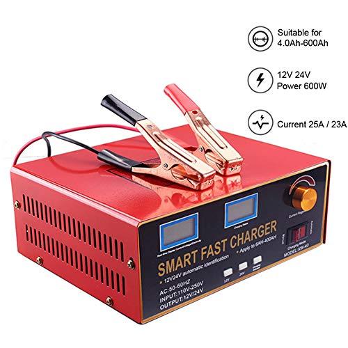 H-ENY Tragbare Batterie-Ladegerät, 600W 12V / 24V Autobatterie-Ladegerät AGM Gel Batterie Motorrad Batterieleistung 12V Batterieladegerät Batterieerhaltungs
