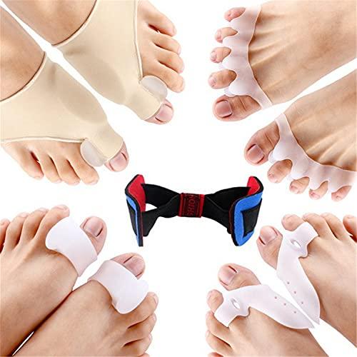 BILXXY Separadores de Dedos correctores de juanetes, 9 Piezas de Protector de juanetes y Kit de Alivio de juanetes para Mujeres/Hombres Separadores de Dedos de Gel alisadores para Dedo Gordo