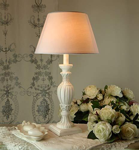 CdCasa Lampe Tischlampe Nachttischlampe, Tischlampe mit Lampenschirm Vintage Landhaus Shabby - Vintage - 56x30 - Antik weiß - Holz/Stoff
