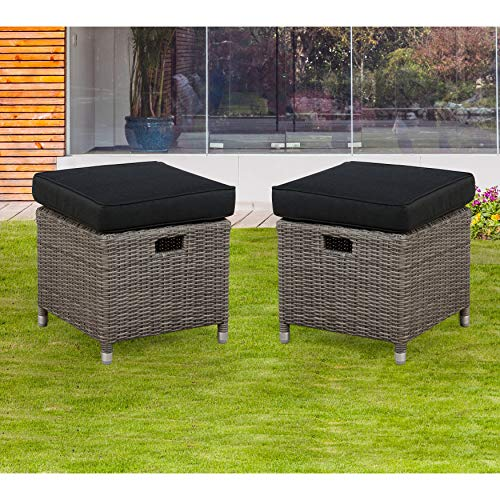 UKN All-Weather Outdoor 17' Square Ottomans Set of 2 Grey