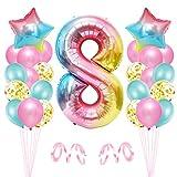 8er Cumpleaños Globos, Decoración de Cumpleaños 8 en Rosado, Cumpleaños 8 Año, Feliz Cumpleaños Decoración Globos 8 Años, Globos de Confeti y Aluminio para Niñas