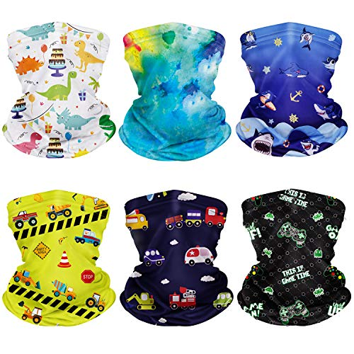 CIKIShield 6Pcs Children Adjustable Neck Gaiter Bandanas Kids Face Mask Scarf Balaclavas Wind UV Protection … Blue/Yellow