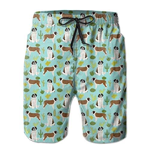 Belongtu Saint Bernard Dog Breed Cactus Men Summer Beach Boardshorts Hommes Short Pantalon de Plage Pantalons Chauds