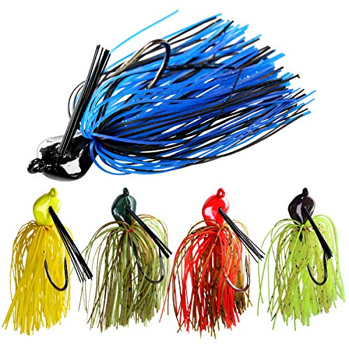 THKFISH 19g Jig Esche Artificiali da Pesca in Silicone Jigs Esche da Pesca in Gomma Colore Misto Jig Esche da Pesca per spigola, Trota, 5 Pezzi