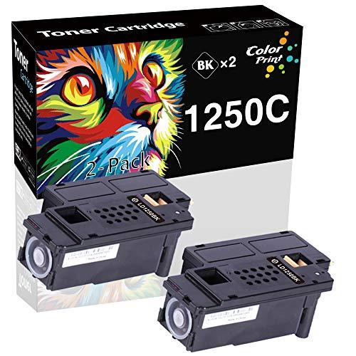 ColorPrint - Cartucho de tóner Negro 1250C 1250 (2 Unidades) Compatible con impresoras DELL 1350CNW...
