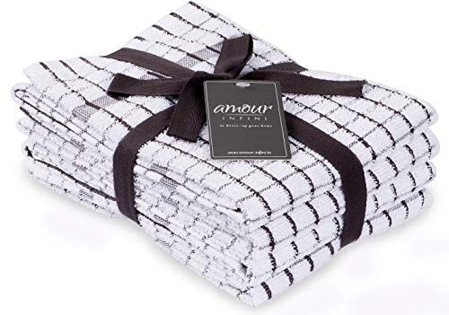 AMOUR INFINI Terry Kitchen Towels  Set of 4  20 x 28 Inches  Super Plush and Absorbent 100 Cotton Dish Towels with Hanging Loop  Perfect for Kitchen and Household Uses  Dark Grey