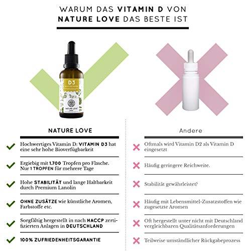 NATURE LOVE® Vitamin D3 5000 (50ml flüssig) - Mehrfacher Sieger 2020* - Laborgeprüfte 5000 I.E. pro Tropfen - Hochwertig: sehr hohe Stabilität - Hochdosiert, in Deutschland produziert - 5