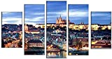 Cinco pinturas de arte de pared modular pinturas en lienzo decoración del hogar 5 piezas con vistas al paisaje de Praga imágenes de la sala de estar cartel del castillo