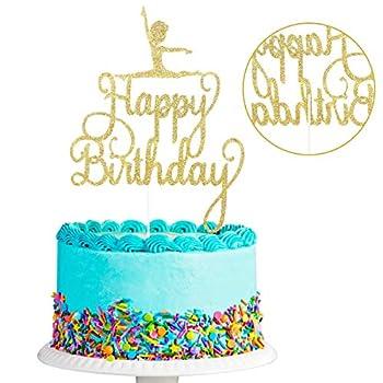 Happy Birthday Gymnastics Cake Topper Gymnast Girl Birthday Cake Party Decorations Gymnastics Themed Birthday Party Decor  Double Sided Gold Glitter