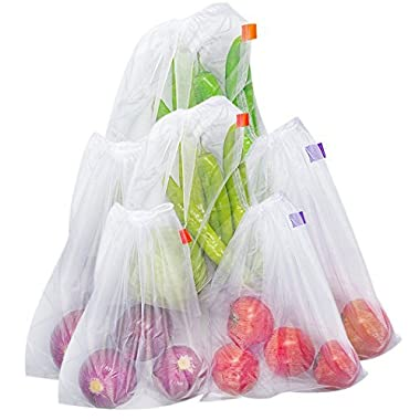 Bekith Set of 6 Reusable Produce Bags - Mesh Bags for Grocery Shopping & Storage of Fruit Vegetable & Garden Produce - Eco Friendly Net Bags
