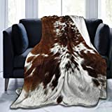 YIEASY Throw Blankets,Tri-Color-Brown-Cowhide Sherpa Fleece Blanket Throw Plush Throw Blanket Fuzzy Soft Blanket Microfiber L