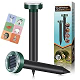 Mole Repellent,2 Packs,Solar Powered Mole Repeller,Gopher Repellent,Snake Repellent,Vole Repellent for Lawn Garden & Yard,Vole Deterrent,Groundhog Repeller,Ultrasonic Pest Control for Outdoors
