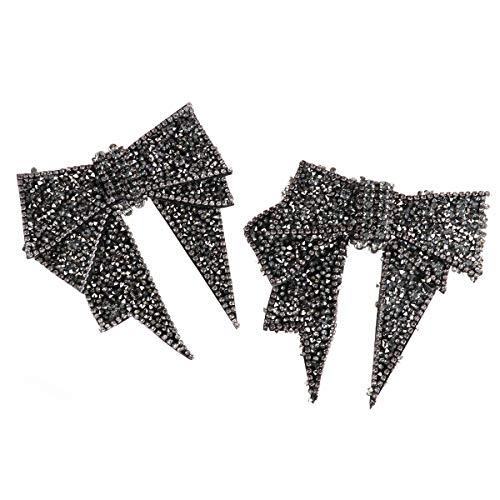 Tiaobug Damen Schleifen-Schuhclips Elegant Schuhschmuck Dekoration für Brautschuhe Tanzschuhe Party Freizeit Schwarz Pailletten One Size