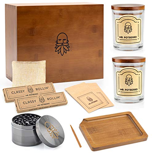 MR. POTBEARD Stash Box Kit with Herb Grinder, Odor Absorber, 2 Airtight Containers, Poking Tool and Rolling Tray - Bamboo Secret Box - Organizer and Accessories - Includes Smell Proof Jars