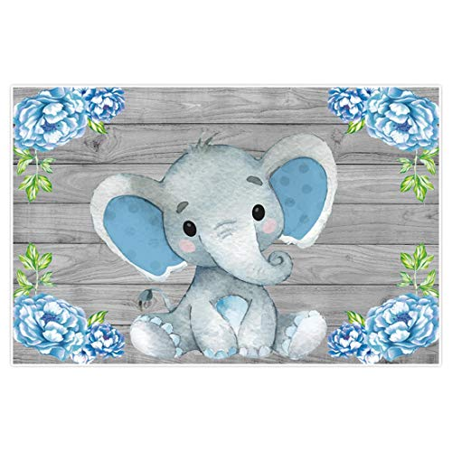 Allenjoy 5x3ft Rustic Wood Elephant Backdrop Supplies for Baby Shower Blue Floral It's a Boy Newborn Kids Birthday Party Decorations Studio Cake Smash Candy Dessert Photography Banners Props Favors
