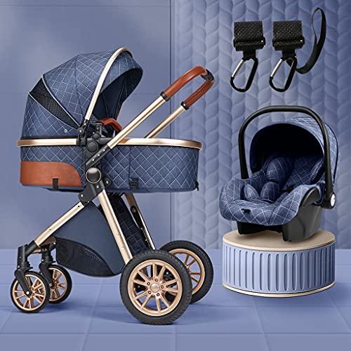 XYSQ 3 En 1 Cochecitos para Bebés |Cochecito De Carruaje De Bebé Portátil Negro |Cochecito De La Absorción De Choque Plegable |Carruaje De Aluminio para Bebés |con Gancho De Cochecito (Color : Blue)