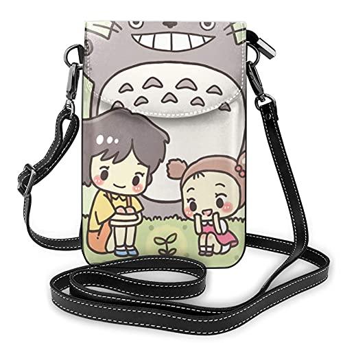 to-t-ORO Anime Kleine Umhängetaschen Durable Handy Geldbörse Brieftasche 3D-Druck Handytasche Umhängetasche Leder Geldbörse Brieftasche