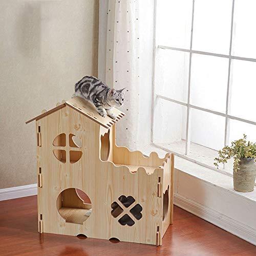 QinWenYan Hide Houten schommel voor honden en katten binnenshuis, 75x36x80cm, Natuurlijk.
