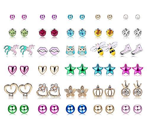 Yadoca 30 Paar Kinder Ohrstecker Edelstahl Gemischte Farbe Blume Herz Stern Krone Biene Lippen Eule Imitat Perle CZ Schmuck Ohrringe für Frauen Mädchen