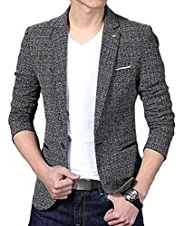 MK988 Mens Wedding Party Slim Fit Formal One Button Dress Blazer Jacket Suit Coat