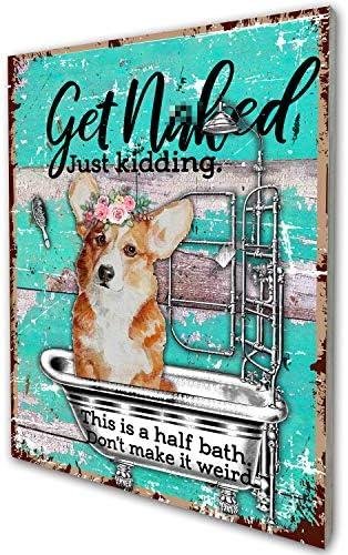 Funny Bathroom Quote Corgi Dog Retro Farmhouse Wood Wall Art Decor Gift Idea for Corgi Dog Lover product image