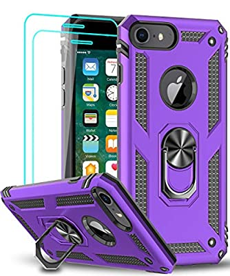 LeYi iPhone 8 Case, iPhone 7 Case, iPhone 6s/ 6 Case with Tempered Glass Screen Protector [2Pack], Military-Grade Protective Phone Case with Ring Car Mount Kickstand for iPhone 6/6s/7/8, Purple