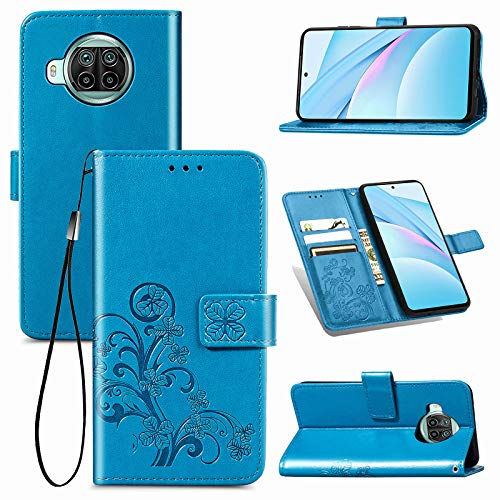TOPOFU Xiaomi Mi 10T Lite 5G Hülle Flip Lederhülle,Vierblättriges Kleeblatt Muster Magnetische PU Wallet Ledertasche mit Ständer Handyhülle für Xiaomi Mi 10T Lite 5G-Blau