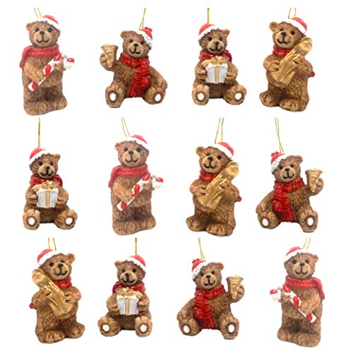 BANBERRY DESIGNS Mini Christmas Bear Ornament Figurines - Set of 12 Teddy Bears Wearing Santa Claus Hats - Assorted Poses Standing or Hanging - Miniature Christmas Decor - Approx. 1.25 Inches Tall