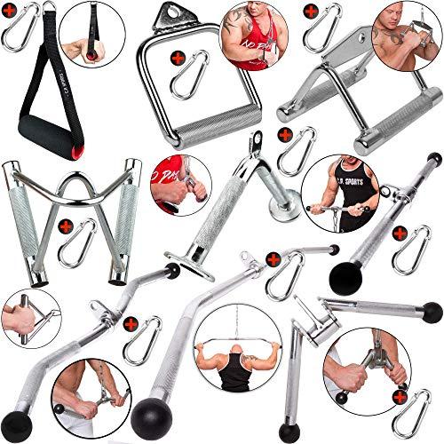 C.P.Sports Barra de tríceps con una Sola Mano, Mango Paralelo, Barra de tríceps, Barra de polea, 1 mosquetón para Culturismo, Entrenamiento de Fuerza, Gimnasio (Forma de V)