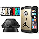 iPhone 6/6S Plus - Shock Resistant Two Layer TPU & PC Jordan Case + Full Drop Protection feat. Slim Thin Hard Soft Dual Shell Basketball Design Cover (Gold)