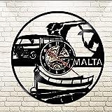 KDBWYC Reloj de Pared República de Malta Reloj de Pared Vintage Reloj de Pared con Registro de Vinilo Regalos de Viaje de Turismo Nacional Recuerdo República de Malta