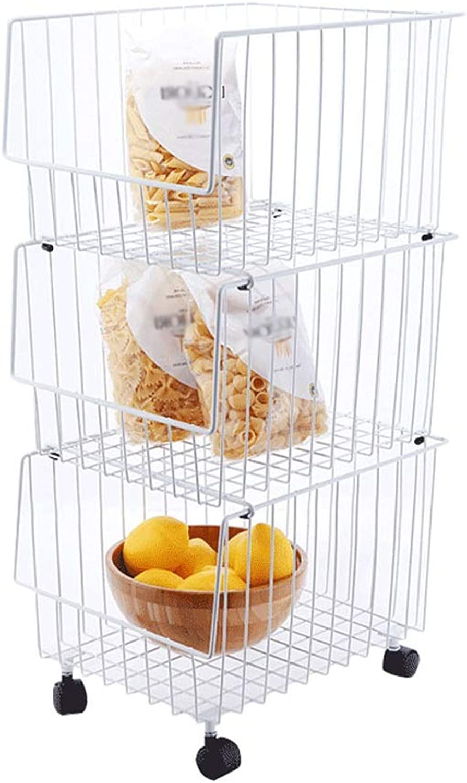 Kitchen Cart 3-Layer Superimposed Metal Storage Rack Wheeled Removable Fruit and Vegetable Storage Basket Basket White