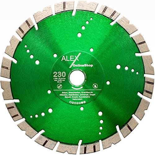 LXDIAMOND Diamant-Trennscheibe 230mm x 22,23mm Premium V-TURBO 15mm Hartgestein Granit Granitborde Stahlbeton Beton Naturstein Diamantscheibe passend für Winkelschleifer 230 mm