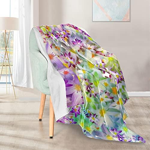 Mantas suaves y cálidas, 127 x 152 cm, hermosas flores de tulipán, ligera, cortas, de microfibra, 1 para casa, cama, sofá, silla, viaje, camping, oficina