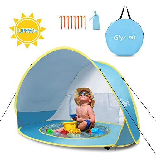 Glymnis Tienda Playa Bebe Pop up Tienda de Bebé con Piscina para Infantil Carpa Plegable Portátil Protección Sol Anti UV 50+ Ventilación Gran Tamaño 120 * 80 * 70cm