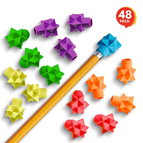 ArtCreativity Star Pencil Top Erasers for Kids - 48 Pcs - Colorful Eraser Caps Toppers for Boys and Girls - Classroom Prize, Teacher Rewards, Stationery Birthday Party Favors, Goody Bag Stuffers