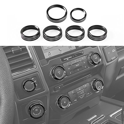 Voodonala Aluminum Alloy Inner Accessories Air Conditioner & Trailer & 4WD Switch Cover Ring Trim for Ford F150 XLT 2016 2017(Black)