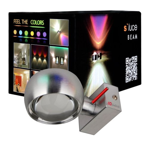 Wandleuchte s.LUCE Beam Up&Down Wandlampe mit Glaslinsen Alu-Gebürstet mit Lichteffekt Schlafzimmerleuchte moderne Effekt-Lampe Flur-Lampe Flur-Leuchte Treppenhaus-Lampe Effektleuchte