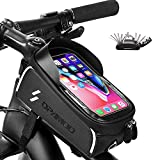 Bike Phone Front Frame Bag - Waterproof Bicycle Top Tube Cycling Phone Mount Pack with Touch Screen Sun Visor Large Capacity Phone Case for Cellphone Below 6.5'' iPhone 7 8 Plus xs max