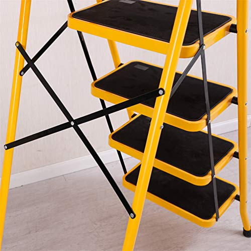 BAOYOUNI 5 Step Ladder Folding Step Stool Heavy Duty Stepladders with Safety Handle and Anti-Slip Wide Pedal Multi-Purpose Household Tool for Home Office Garage