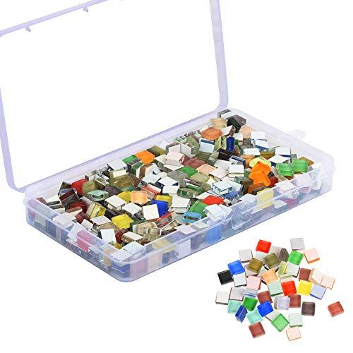 Azulejos de Mosaico JOOPOM 450 Uds Azulejos de Mosaico de Colores Piezas de Vidrio de Mosaico Mosaicos de Vidrio con Brillo Cuadrado para Manualidades Decoración del Hogar