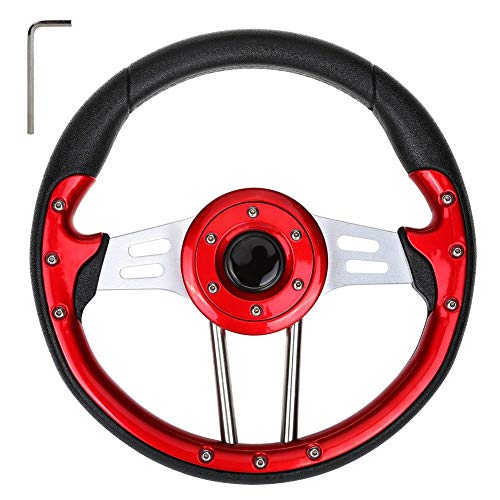 WORLD 9.99 MALL Golf Cart Steering Wheel Fits for EZGO Club Car and Yamaha(Red)