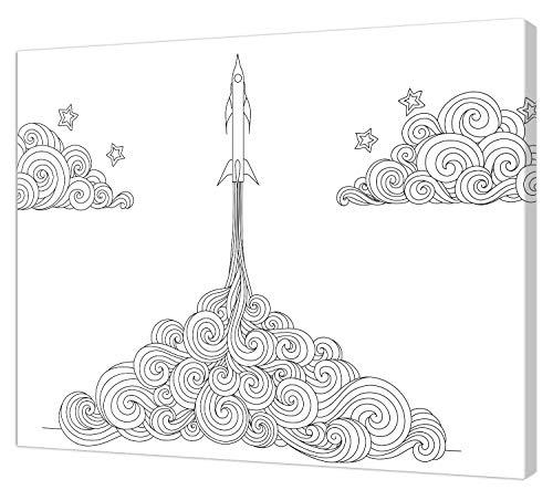 pintcolor 0386 châssis avec toile imprimée à colorier, Wood, blanc/noir, 40 x 30 x 3,5 cm