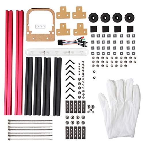 PUSOKEI Bricolage Mini Ensemble de Cadre en Alliage d'aluminium Ouvert, boîtier d'ordinateur PC de Carte mère ATX, 4 Supports Noirs 2 Supports Rouges 1 boîte de Moyens auxiliaires