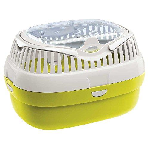 Ferplast Transportbox für Hamster und andere kleine Nagetiere Aladino Large Reisekäfig für Hamster, widerstandsfähiger Kunststoff, farbiger Boden mit transparentem Deckel, 36 x 26 x h 23 cm, grün