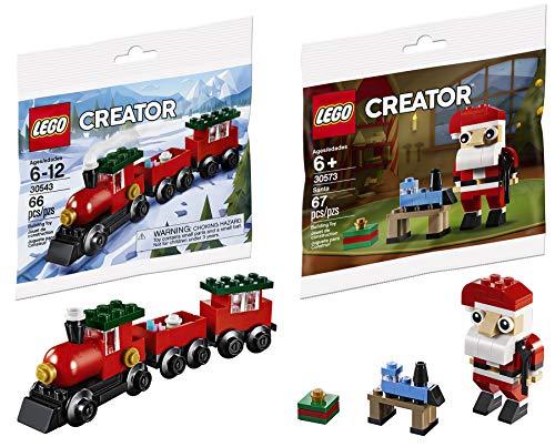 LEGO Ho! Ho! Choo! Choo! Mini Holiday Bag Pack Bundled with Train Building Block Set 30543 Toy & Creator Santa Clause 2 Items