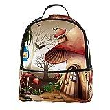 KAMEARI Mochila para la escuela, casa de setas en el bosque oscuro, mochila informal para viajes con bolsillos laterales para botella