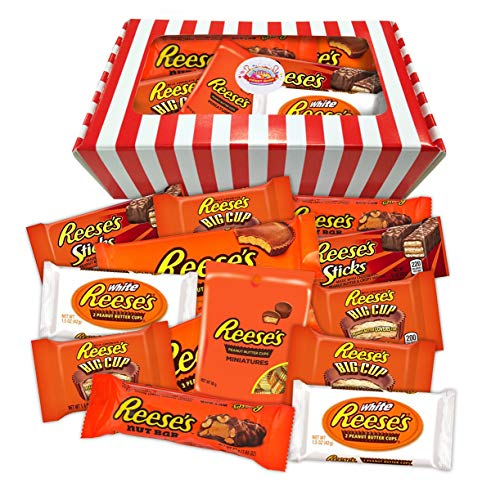 Reese's Peanut Butter Chocolate American Candy Gift Box | USA Themed Candy Striped Hamper