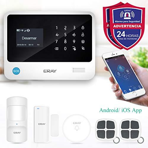 ERAY S2 Alarmas para Casa WiFi+gsm/ 3G+GPRS, Antirrobo, Inalámbrico, SOS Botón, App Gratuita, Servicio + Garantía, Multi-Accesorios y Pilas Incluidas, Voz y LCD Pantalla en Castellano, 433MHz